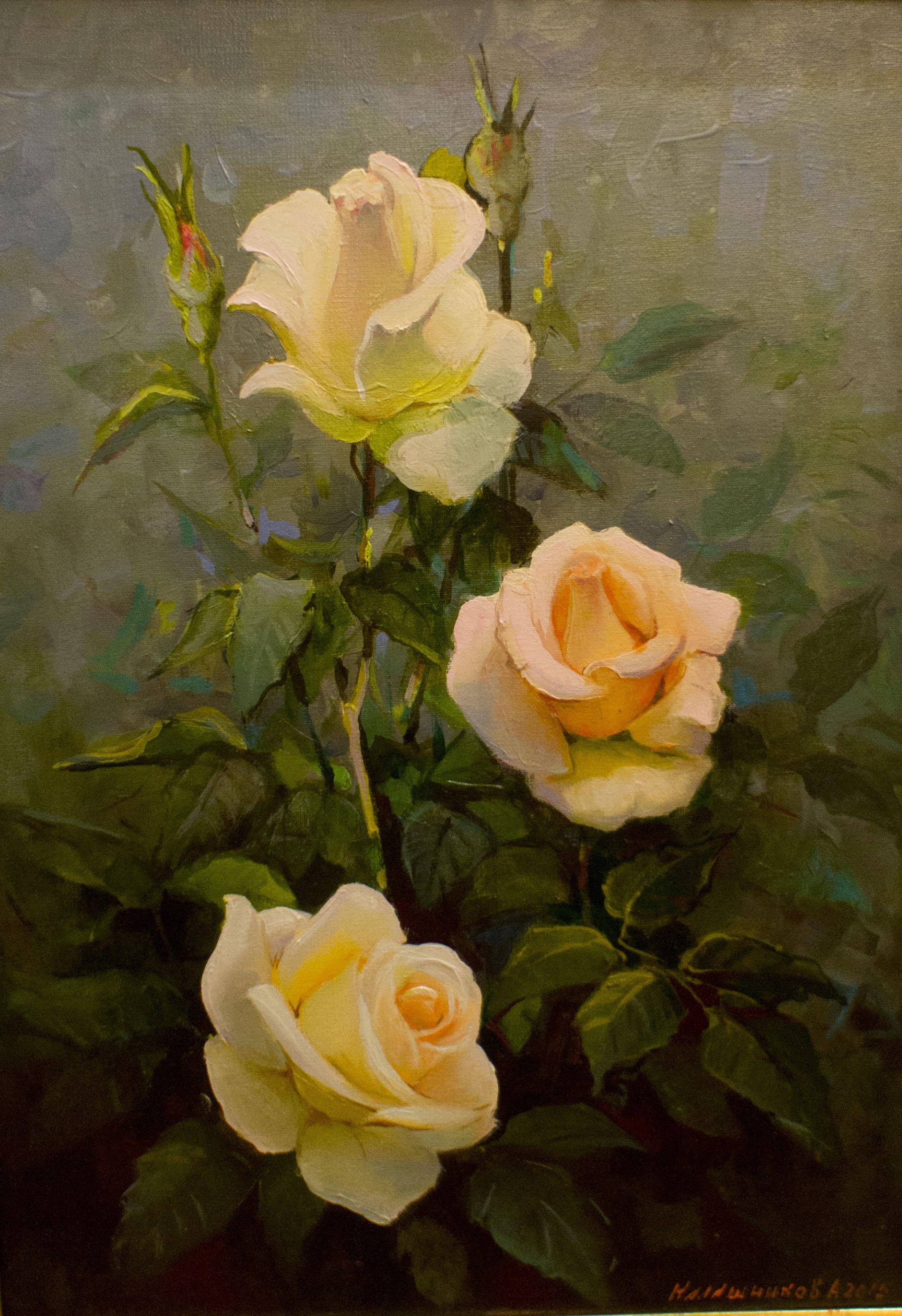 холст, масло, Живописная работа с изображением кремовых роз.