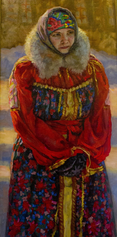 холст, масло. На картине изображена девушка в русском национальном костюме зимой.