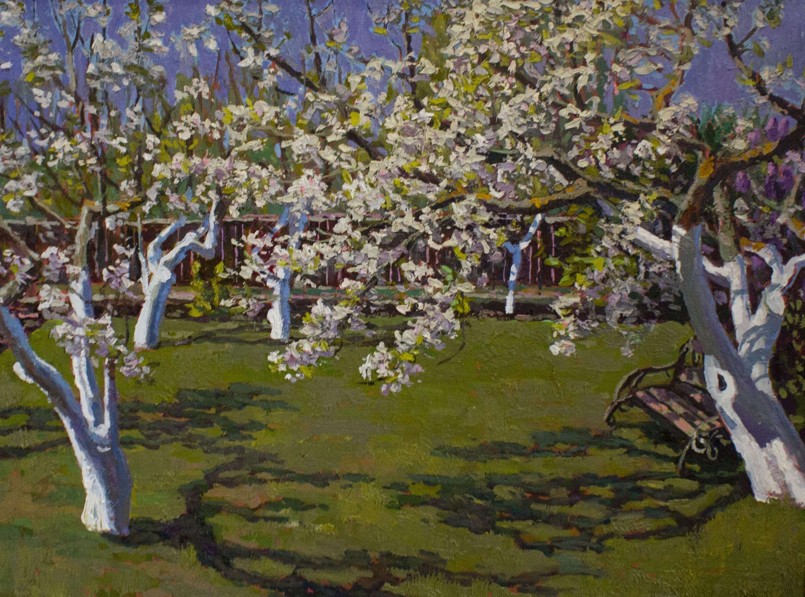 холст, масло. Картина с изображением весеннего цветущего сада.