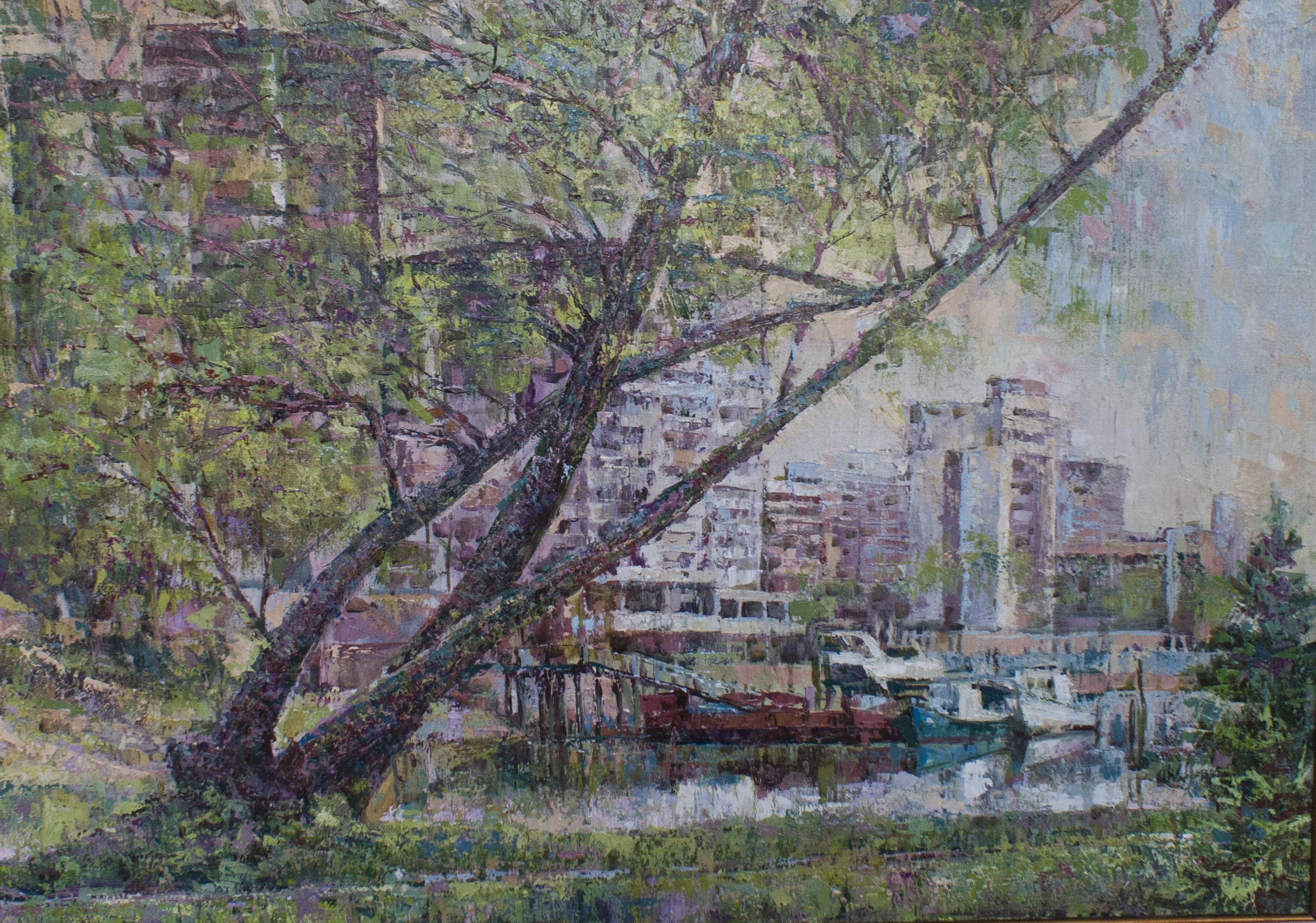 Холст, масло. Весенний живописный пейзаж с изображением старого затона в Краснодаре.