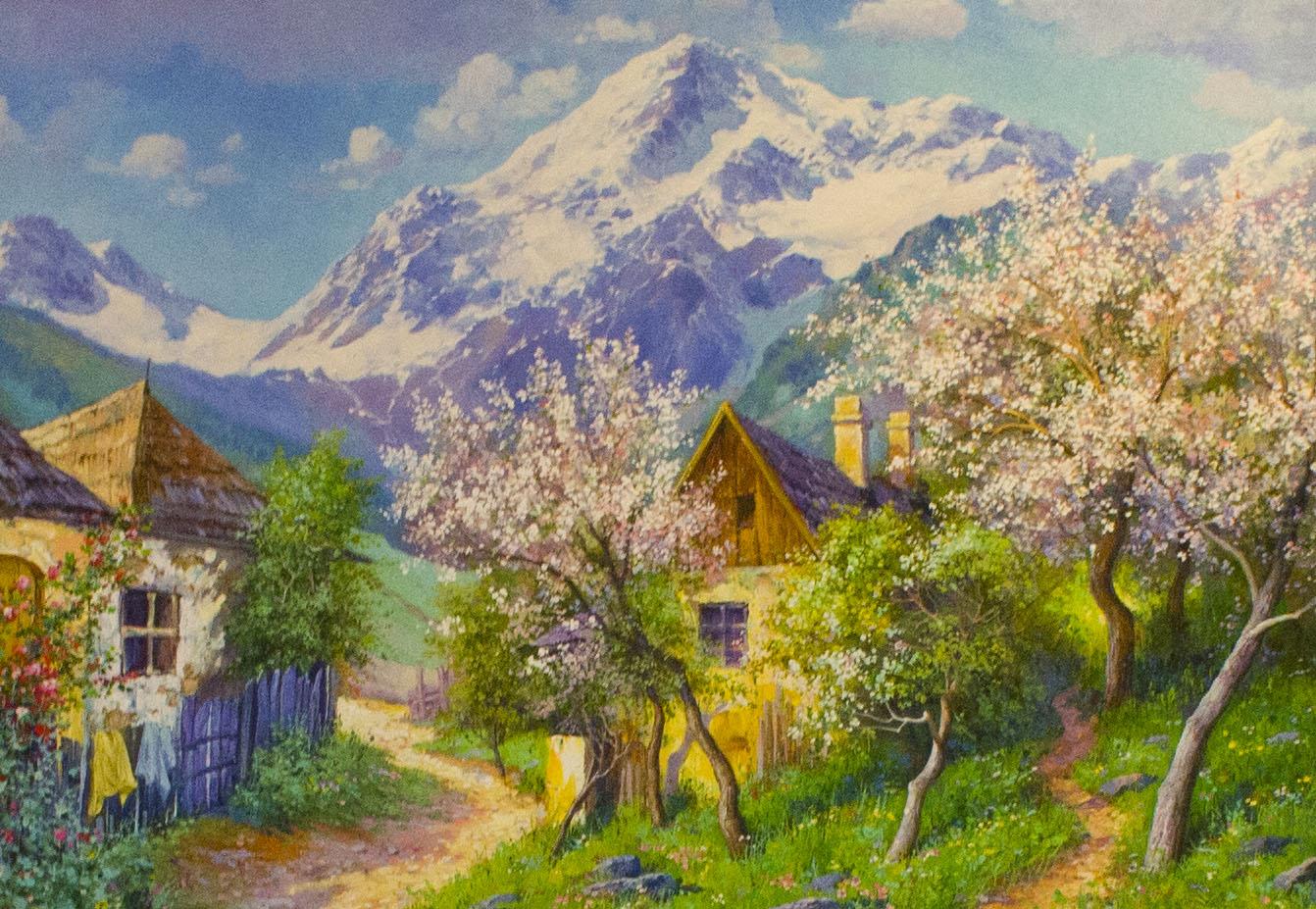 холст, масло. Весенний пейзаж изображает цветение фруктовых деревьев в горной деревушке, на дальнем плане снежные горы.
