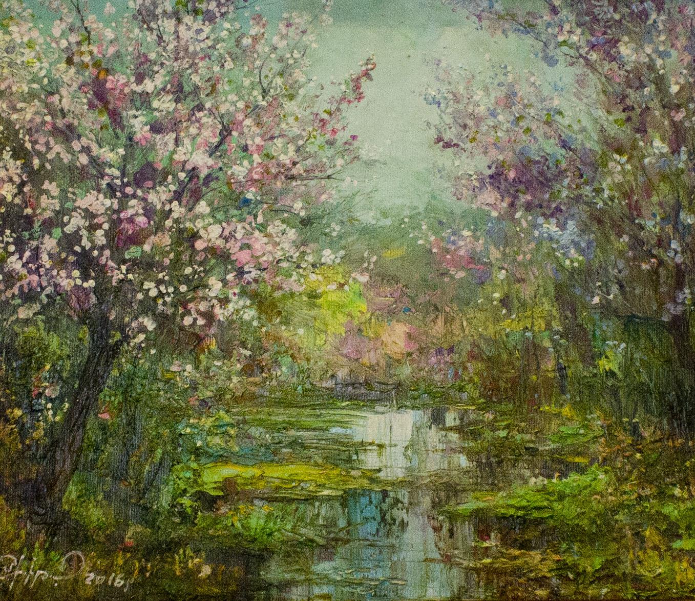 холст, масло. На картине изображено цветение фруктовых деревьев.