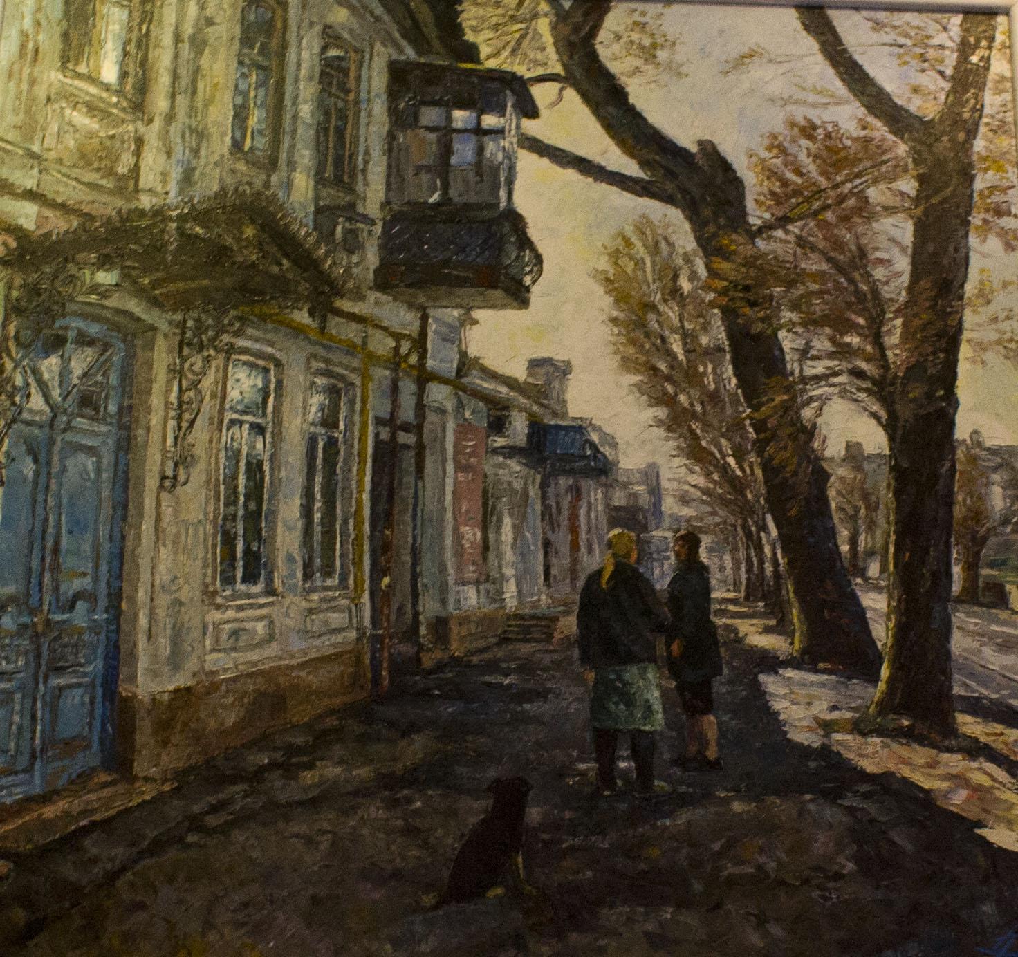 холст, масло. Пейзаж с изображением старых улочек Краснодара.