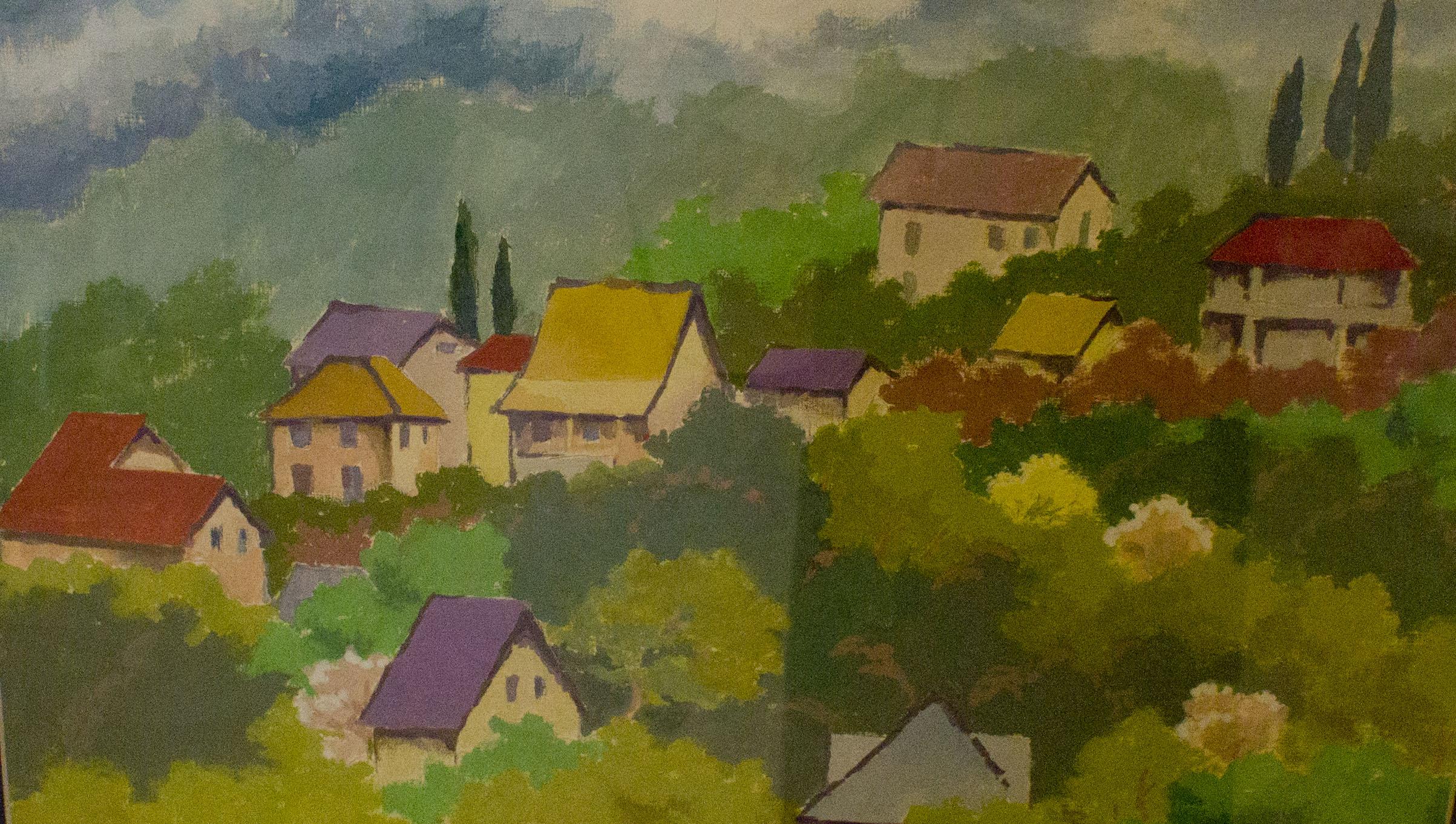 бумага, гуашь. Графическая работа с изображением деревенских домиков, утопающих в зелени.