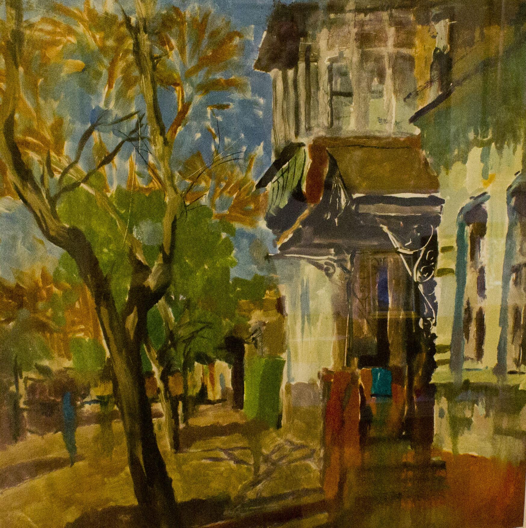 бумага, акварель. Городской пейзаж с видами старого центра Краснодара