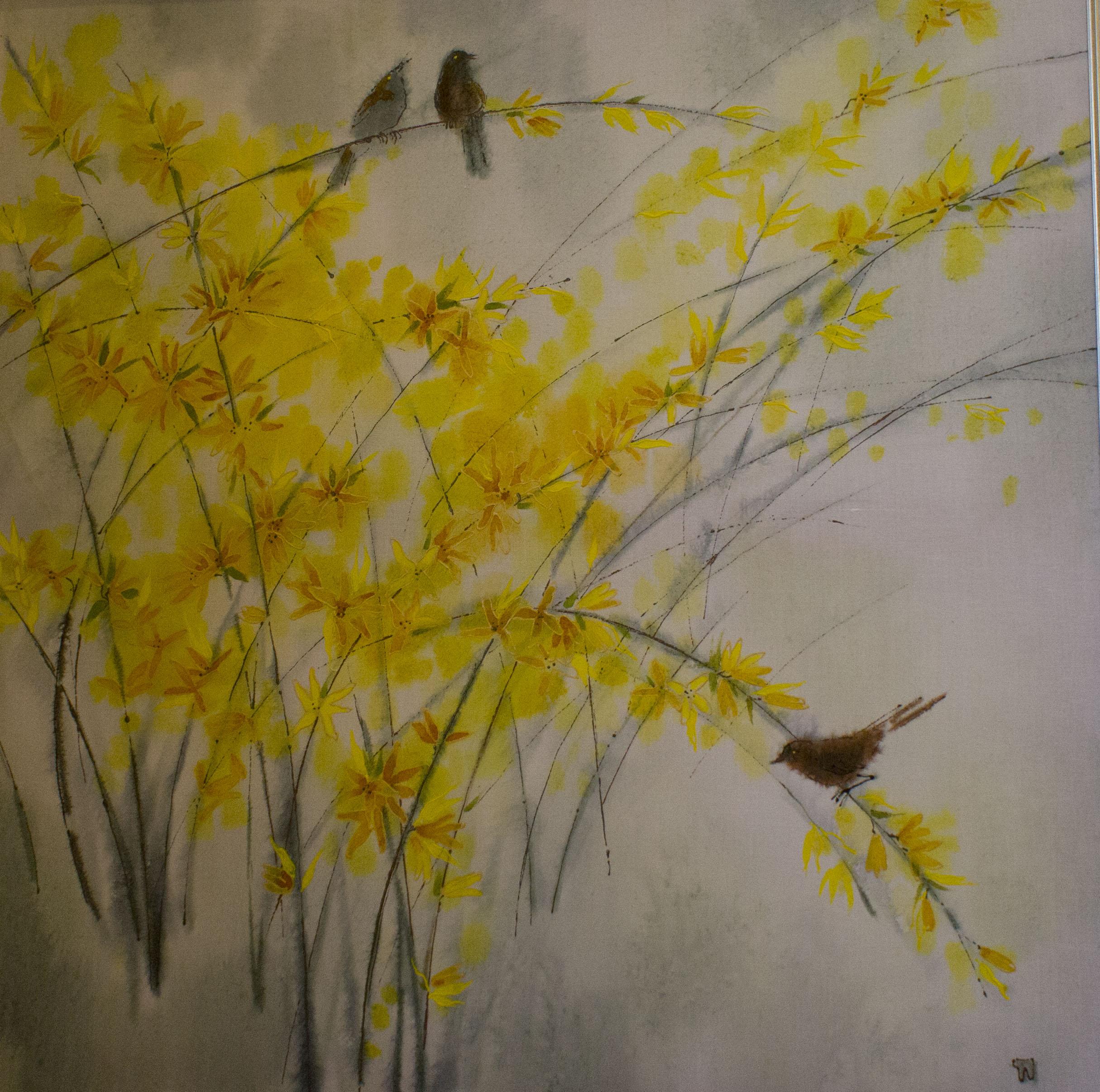 Батик - роспись по ткани. Очаровательные легкие и нежные цветы ранней весны и птицы.