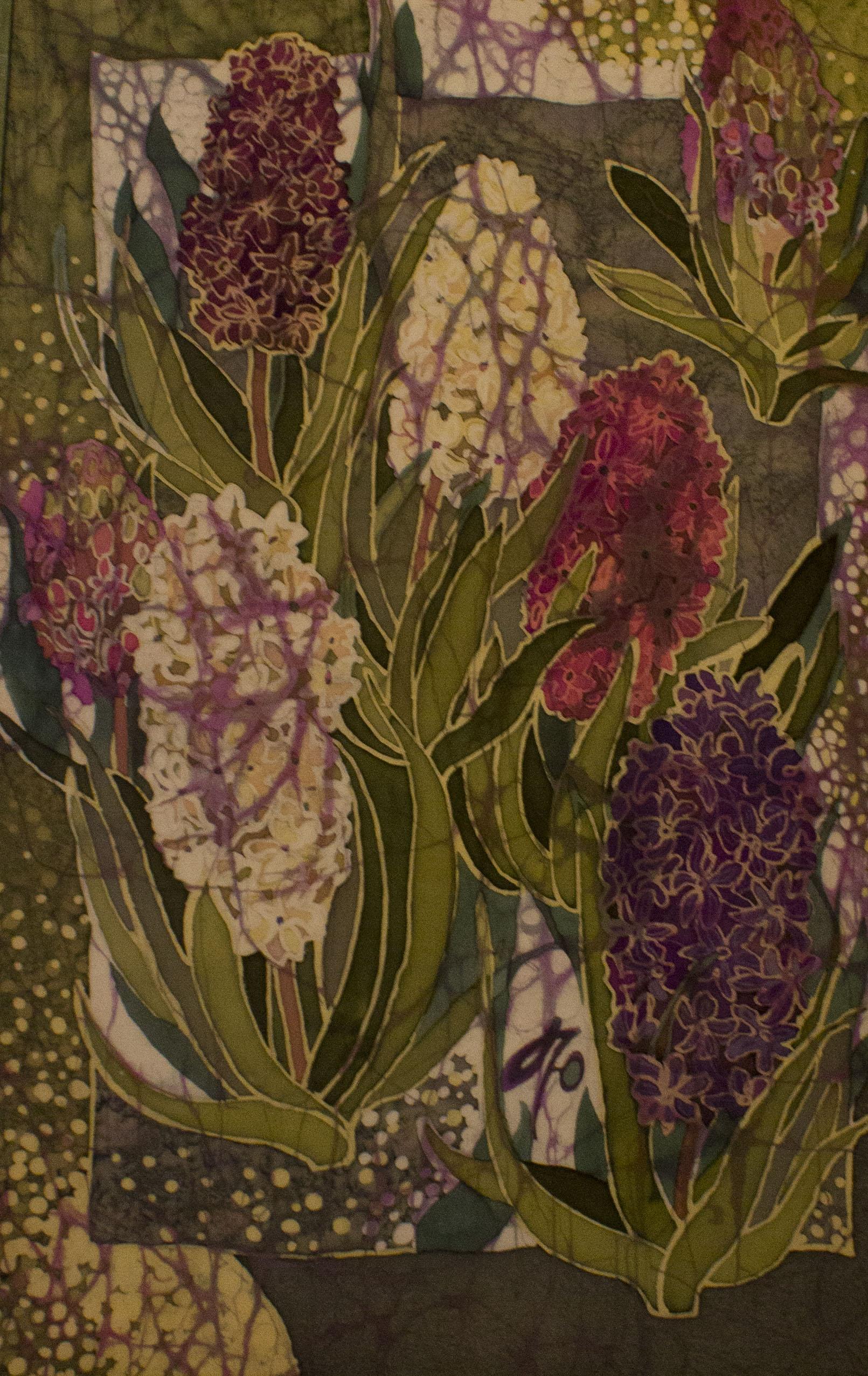 Батик - роспись по ткани. Весенние гиацинты.