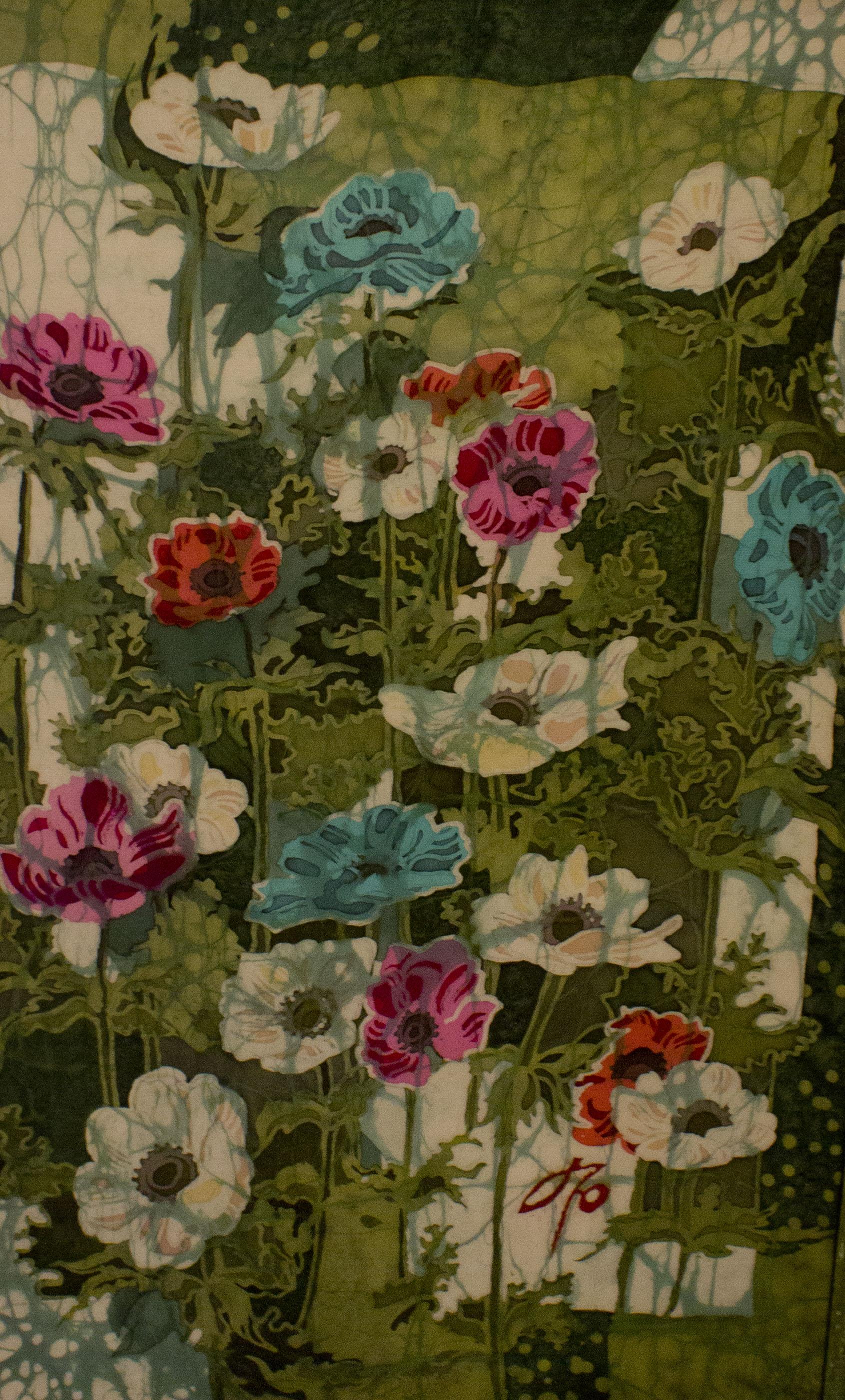 Батик - роспись по ткани. Яркие анемоны.